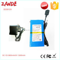 Zande OEM super rechargeable lithium 12v batteries pack 6800mAh/5V 13000mAh + EU/US plug charger for led strips