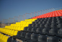 Manufacture price plastic seating on outdoor metal structural Grandstand with H beam