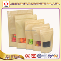 Kraft paper bag with window, Zipper pouch for dried food packaging