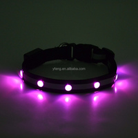 New Chic Nylon Pet Cat dog Puppy LED Flashing Dog Collar Safety Night Light Pendant Collars For Dogs many color choose