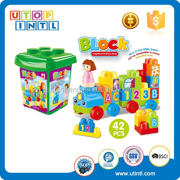 Best selling educational ABS plastic building block train model toy