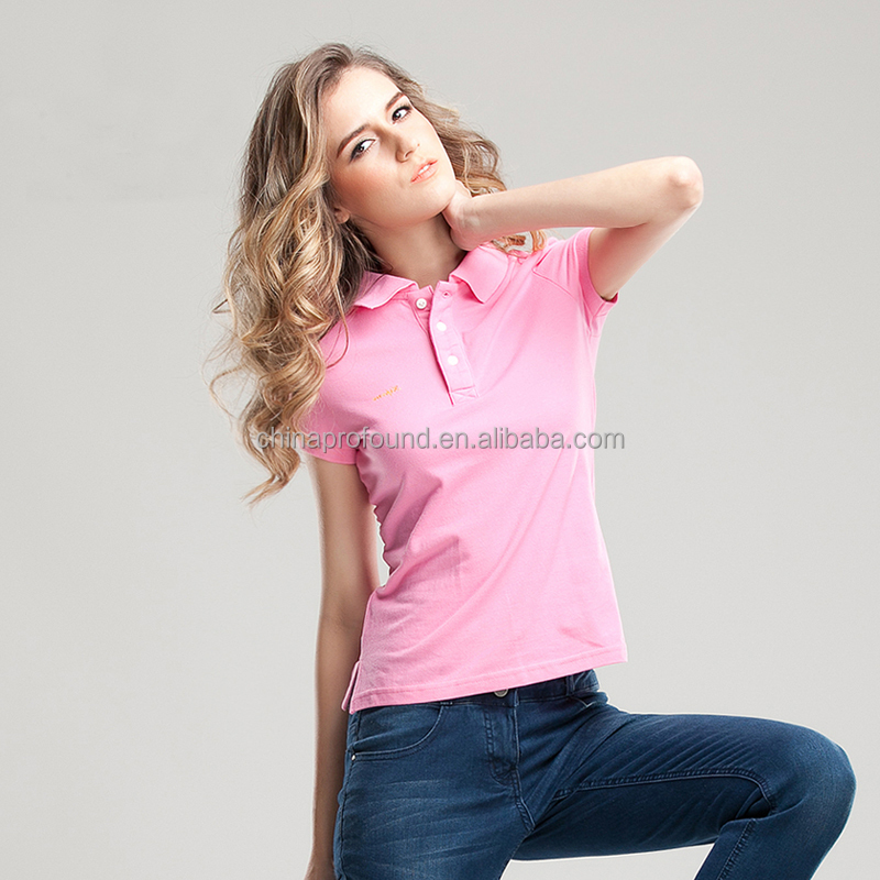 fashion women polo side slit ladies grey polo shirt custom embroidered