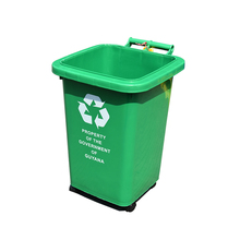 New type HDPE 50L eco green plastic trash bin outdoors
