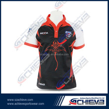 Custom sublimated team playing rugby jersey, blank wholesale rugby shirts