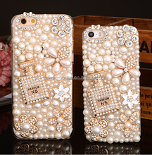 Luxury women design Bling Diamond Pearl Cell Phone Case for iPhone X 8 8 Plus 7 7Plus Soft TPU PC Crystal Back Cover Case