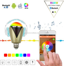 Smart Bluetooth LED Light Bulb Speaker Remote Control 5W E27 RGBW Dimmable Multicolor Changing Lights