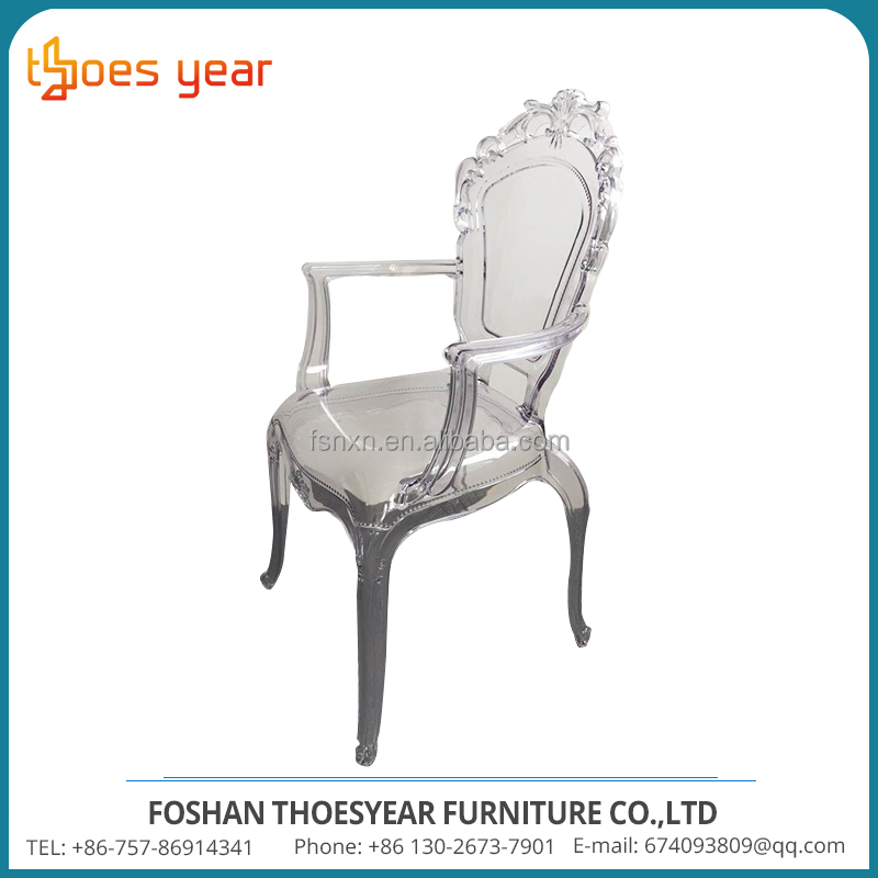Cheap king throne clear plastic chair in china