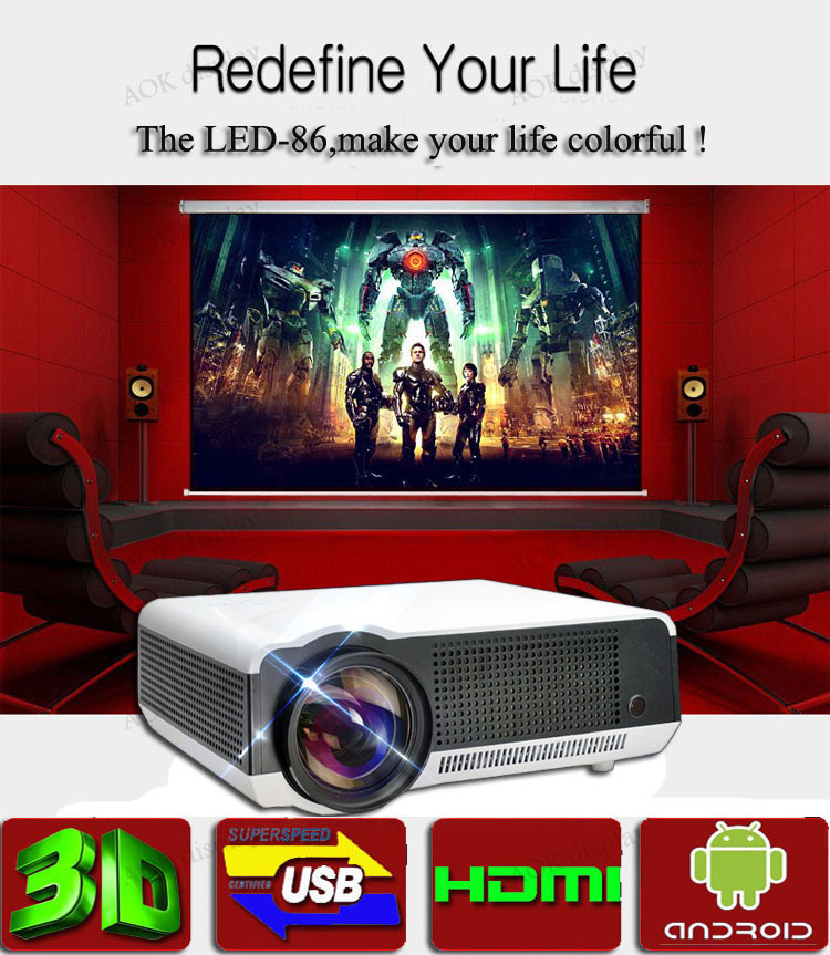 Newest Brirghtest 5500lumens Android 4.2 Native Full HD Led Digital Smart 3D Home Theater Projector