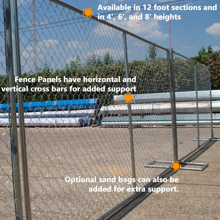 alibaba china supplier Power coated frame finishing and metal frame material temporary fence with brace
