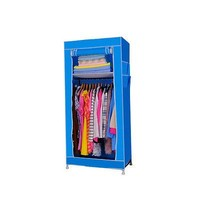 Small Portable Closet Fabric Wardrobe Cheap Clothes Rack with Shelves Blue