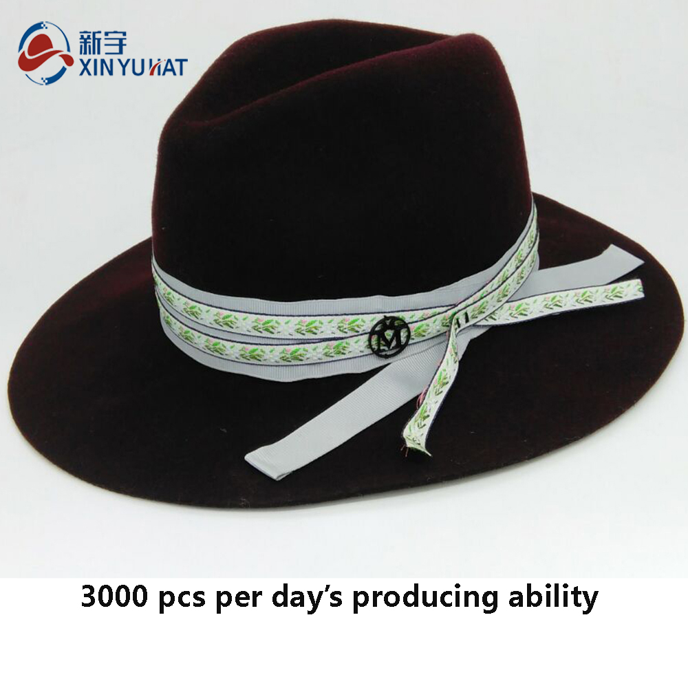 fashion decoration ladies wholesale custom wool felt fedora hat