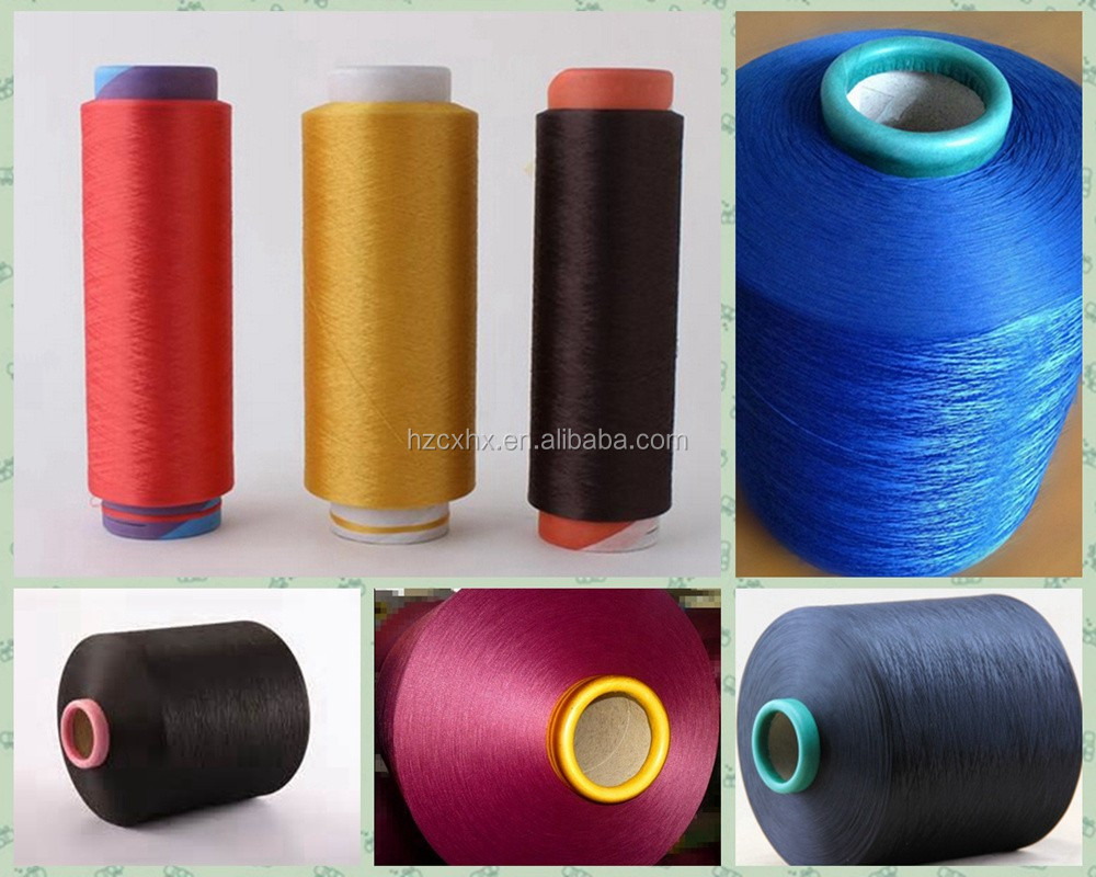 Dope dyed polyester DTY filament yarn dyed fabric fiber fluorescence