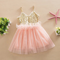 New fashion girls' Sleeveless Summer Princess sequin dresses lace dress