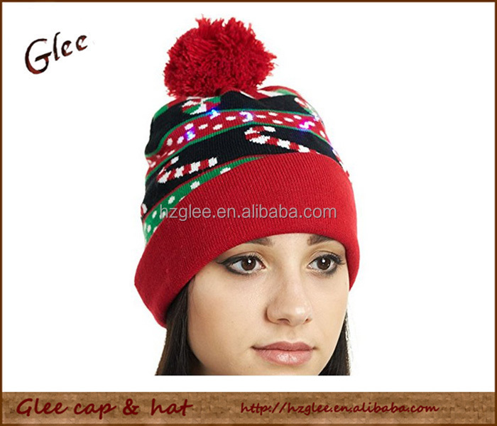 Custom Led Christmas beanie winter led knit hat with pom