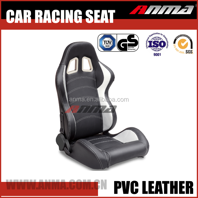 fashionable adjustable pure leather fabrics sports car racing seat with simulator