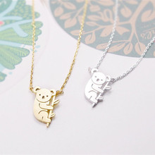 Animal Jewelry Mother's Day Gift 2017 Small Koala Bear and Branch Shaped Necklace Women Animal Charm Cute Pendant Gold Silver