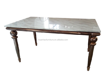 Wholesale Italian design furniture golden stainless steel leg dining table DH-1456