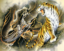 GZ653- 40*50 tiger fighting with dragon pattern wall painting diamond painting by numbers
