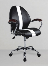 2015 hot sale new model white and black pu luxury adjustable swivel executive office chairs with armrest and nylon feet
