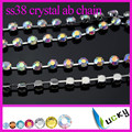 SS38 8mm crystal rhinestone cup chain link with high quality strass chatons