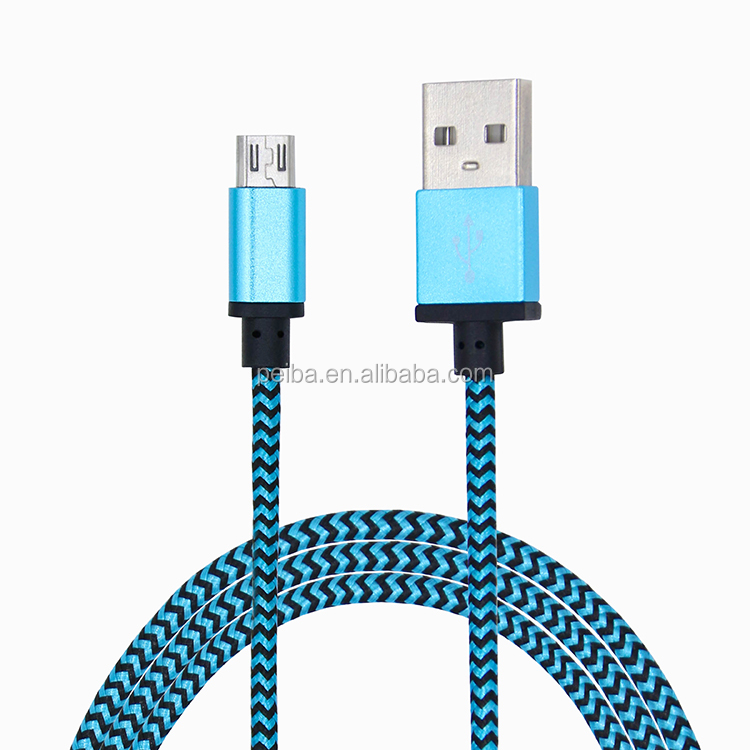 1m nylon woven usb data sync charger cable cord and 1m usb charger cable