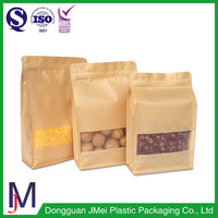 custom zip bags block bottom bags uk for pecans brown kraft food packaging paper bags with window