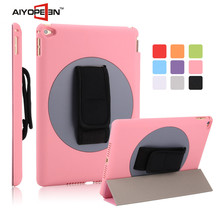 manufactory fabrication High Quality 360 degree Hand Rotation Rubber PC hard case for ipad air2 with nine colors