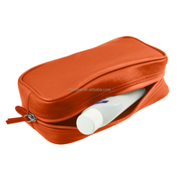 full-grain leather makeup organizer/small toilet bag