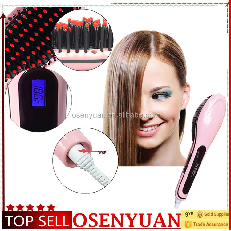 2016 new arrive NASV beauty star hair straightener brush LCD display with ceramic heater and coating