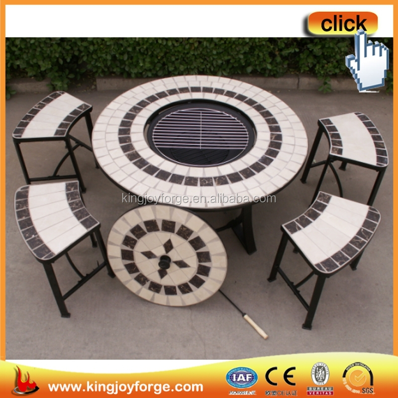 A table with four stools outdoor circular low ceramic tile furniture sets
