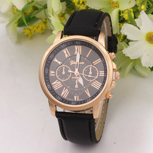 Factory manufacturer Roman numerals fashion leather strap geneva branded watches three eyes wrist watch for girl