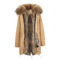 Fashion women's army green Large raccoon fur hooded long coat parkas outwear natural rabbit fur lined winter jacket in stock