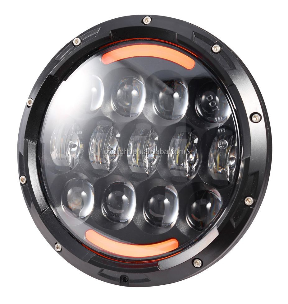 "Loyo 105W 7"" Amber LED Headlight for Jeep Good Heat Dissipation"