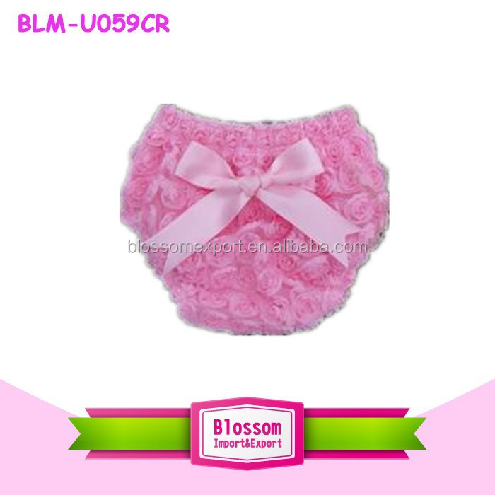 Hot sale rose lace ruffle cotton baby shorts wholesale pink bowknokt baby bloomers