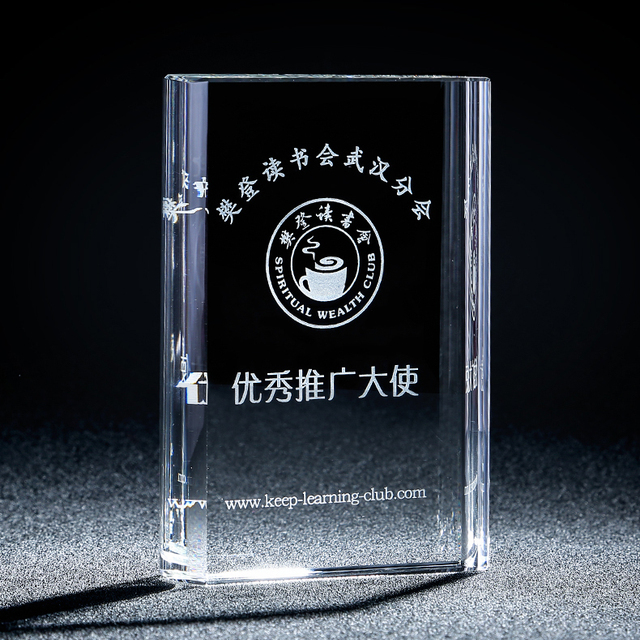 Small size square crystal plaque glass award trophy book shape for certificate souvenir