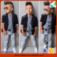 2016 Autumn new arrival boys clothing sets kids Boys long-sleeved jacket+shirts+denim pants 3 pieces child casual clothing set