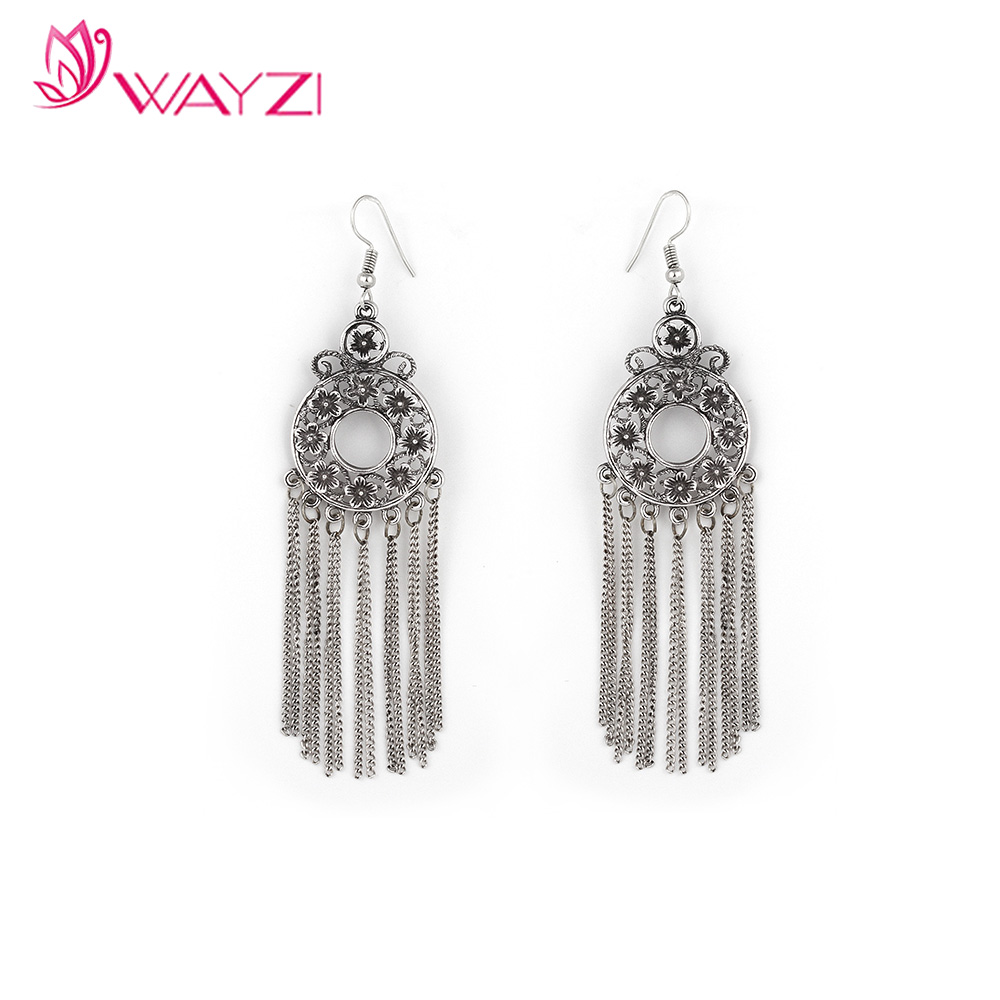 wayzi band new 2017 latest gold earring designs fashion style tassels silver earring