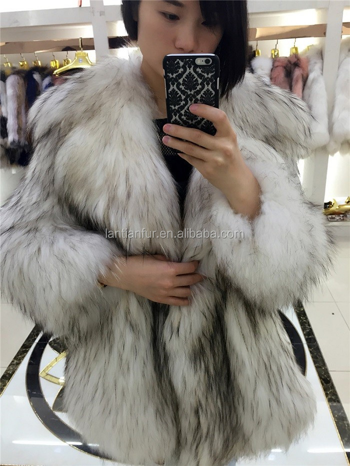 Fashion Style Winter Real Raccoon Knitted Fur Jacket Women/Colorful real raccoon fur coat