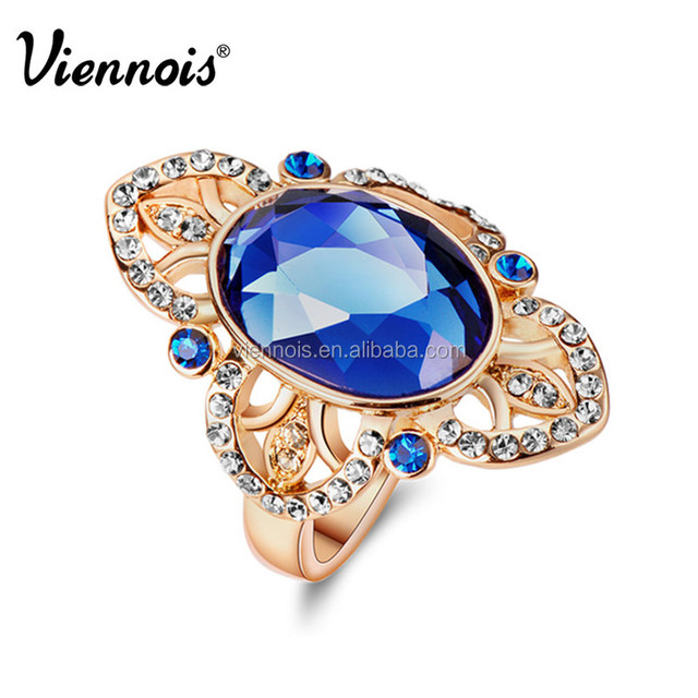 Newest Viennois Fashion Jewelry Luxury Gold Plated Woman Finger Rings with Rhinestone and Oval Blue Crystal