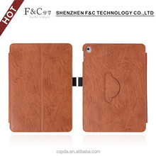 Classical brown stand folio genuine leather case for ipad pro 9.7 inch tablet with stylus holder