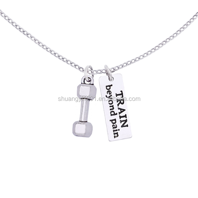 Hotsale Gym Pendant Weight Lifting Barbells Train Beyond Pain Tags Charms <strong>Necklaces</strong>