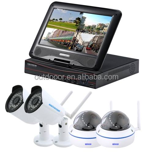 2016 Newest Free Shipping Night Vision WiFi IP Dome + Bullet Camera Wholesale 10.1 inch LCD Screen NVR