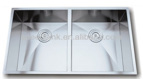 Customized Inox kitchen handmade sink with double basins