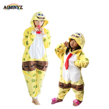 2017 Wholesale adults and children flannel pajamas cosplay SpongeBob onesie for fall and winter