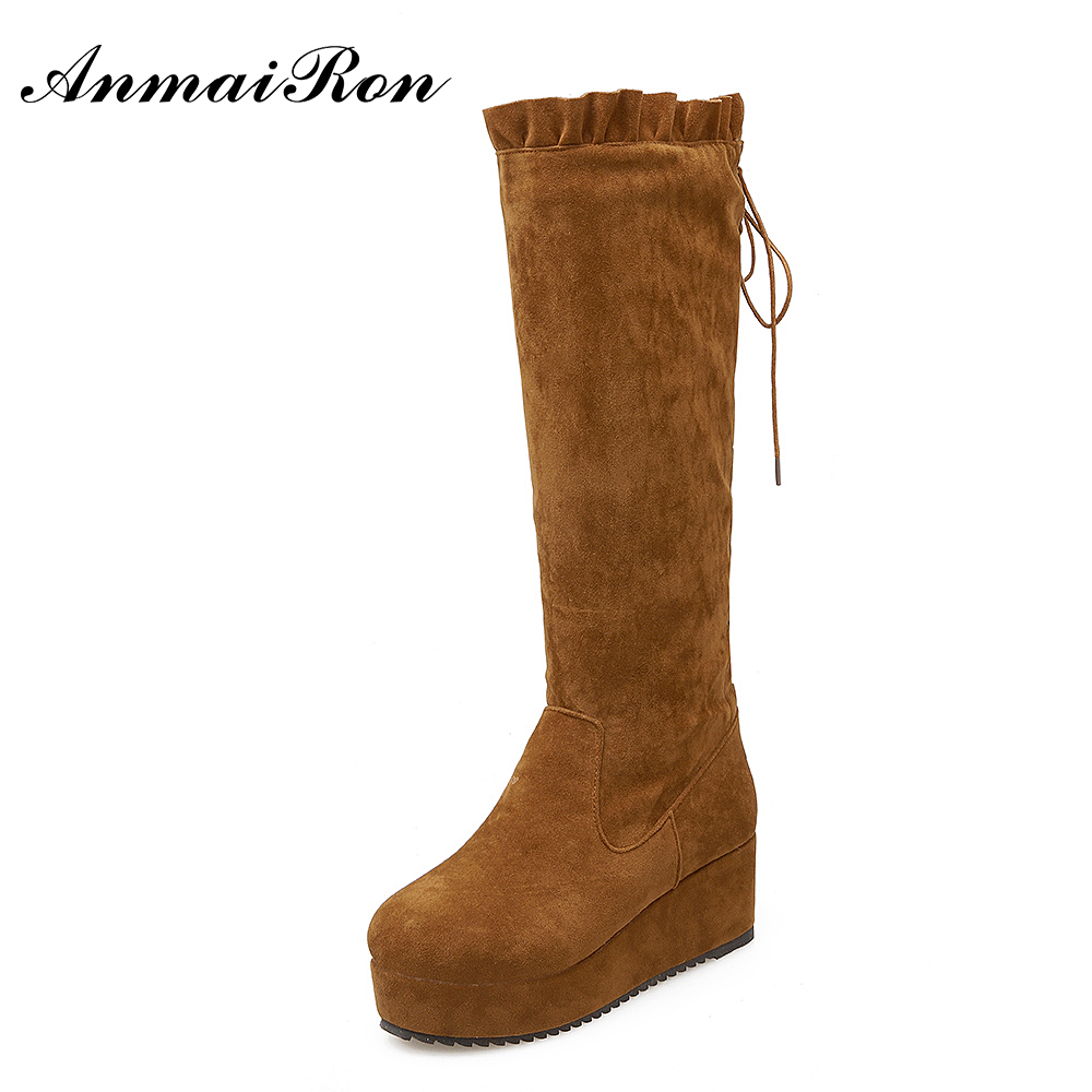 autumn winter ladies fashion suede leather knee boots wedge tassel boots women boots