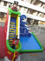 0.55mm Inflatable Pirate Ship Water Slide with Climbing and Big Swmming Pool for Sale