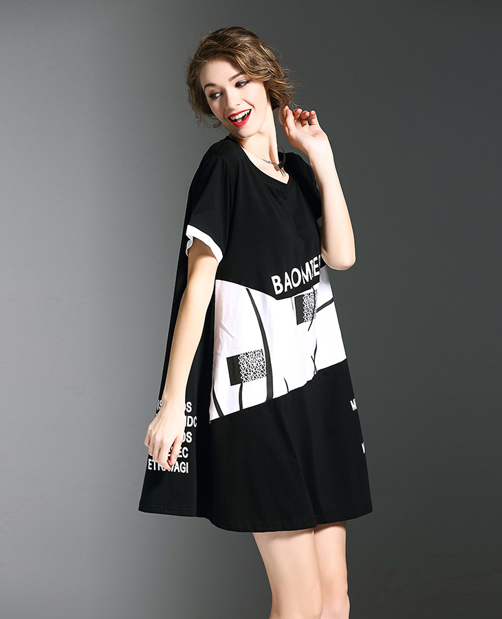 Most popular 2017 a line frock casual black and white blouse dress print pattern plus size women xxx