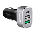 Type C Car Charger 3 USB 45W QC 3.0 Aluminium Black CE ROHS Factory Offer
