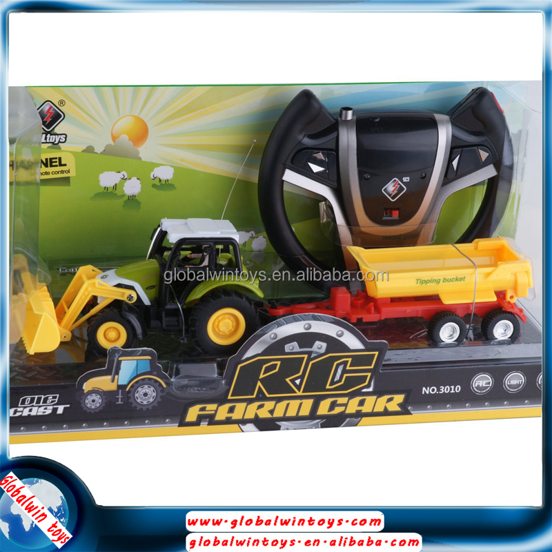 steering wheel remote control toy farm tractor trailers,metal rc excavator