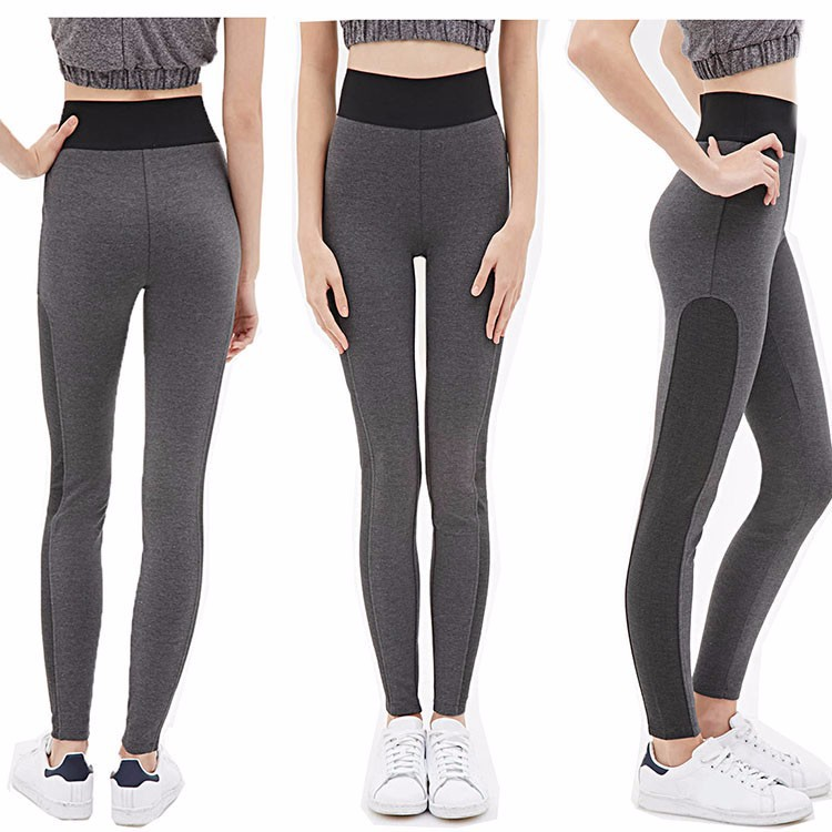 Spandex Lycra Black/gray stitching custom made wholesale tight yoga pants